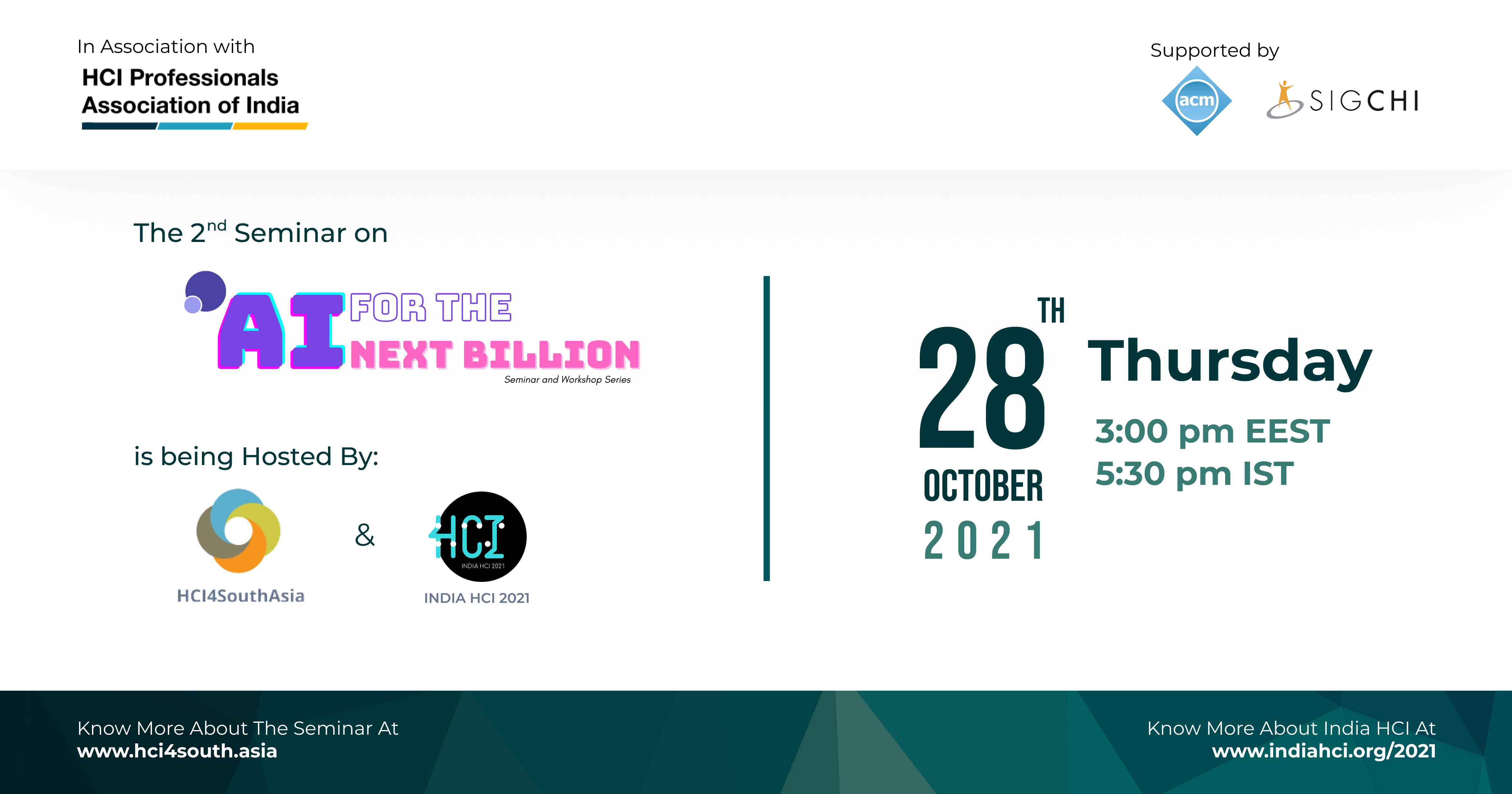 HCI4SouthAsia (HCI4SA) and India HCI 2021 Prelude will host the second Seminar on AI4NB in collaboration with the University of Oulu, Women in AI in Finland, MIT Institute of Design & UNICEF Finland.